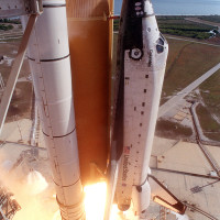 A close-up camera view shows Space Shuttle Columbia as it lifts off from Launch Pad 39A on mission STS-107. Launch occurred on schedule on 16th of January, 2003  Photo courtesy of NASA  http://en.wikipedia.org/wiki/Space_Shuttle_Columbia_disaster