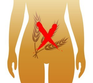 cartoon of wheat in red x over stomach