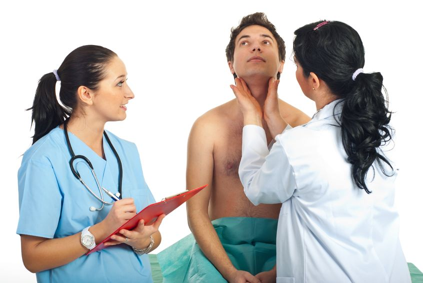 doctor gives a physical examination of a patient