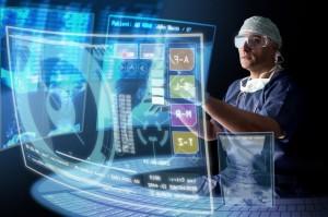 doctor in uniform using futuristic looking digital screens and keyboard