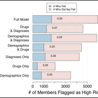 Comparison of predictive model variations by number of members identified as high-risk during validation (>20%). The number of people who actually fell within each model's estimated high-risk group are provided (in blue) and the number within each bar denotes the fraction of the high-risk members who fell, ie, positive predictive value.