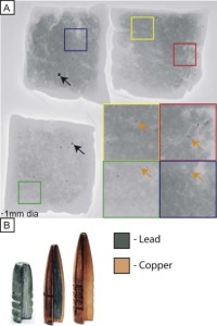 Samples of meat from the patient's freezer were analyzed by x-ray study to determine the presence of metal fragments. Two packages of ground deer meat (UL and UR) and one package of ground goat (LL) revealed a number of large metal fragments (black arrows) throughout the meat (Panel A). Each package of meat was approximately 1 kg. Upon further examination at higher resolution it became clear that there were smaller metal fragments throughout the samples (orange arrows). When selecting bullets, hunters have a choice of materials. Three of the common options are lead bullets, lead-core copper-jacketed bullets, or lead-free bullets (Panel B). All bullets shown are 165-grain, 30-caliber rifle bullets. Importantly, hunters may confuse the copper-jacketed lead bullets with bullets that are lead free, as they have a copper jacket covering most of the lead core.